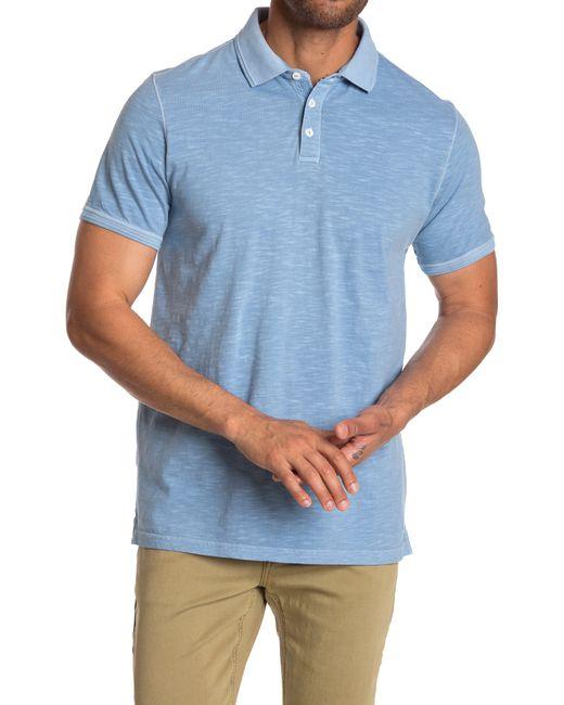 Thread & Cloth Blue Pigment Dye Slub Solid Polo Shirt for men