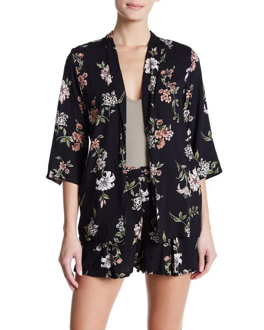 Angie - Black Floral Open Front Blazer - Lyst