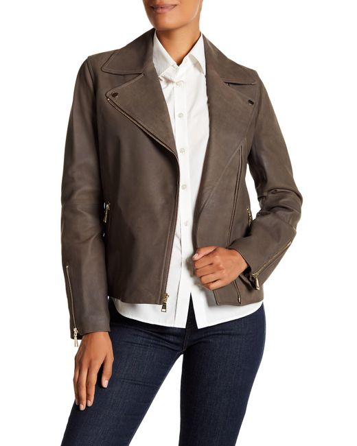 T Tahari - Brown Skylar Leather Jacket - Lyst