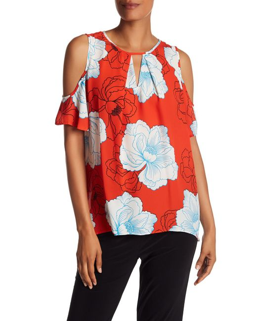 Chaus | Red Floral Cold Shoulder Blouse | Lyst