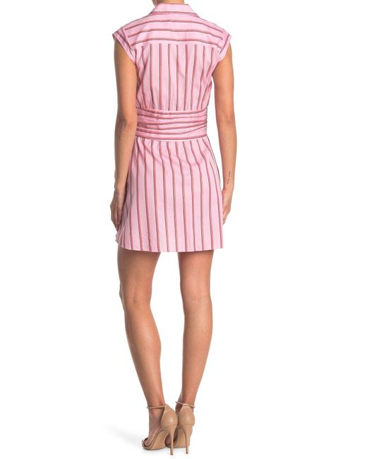 10 Crosby Derek Lam Pink Cora Stripe Shirt Dress