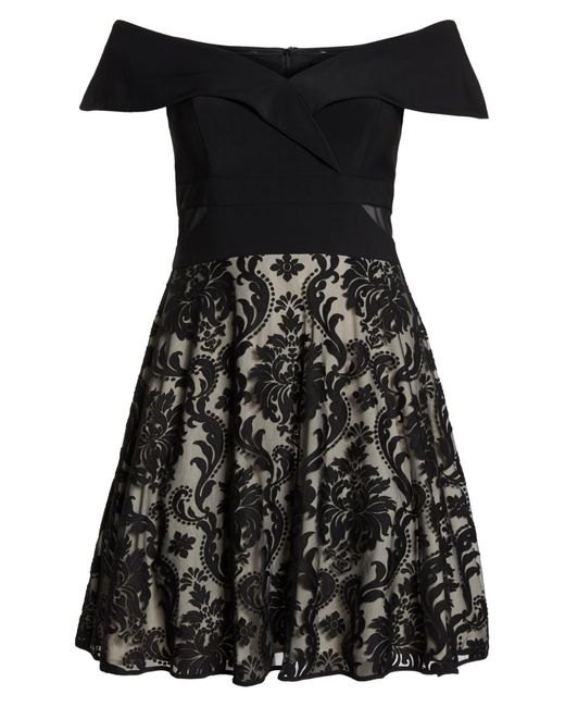 3e13c23be ... Xscape - Black Off The Shoulder Embroidered Skirt Dress (plus Size) -  Lyst ...