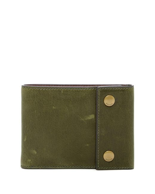 Fossil - Green Ethan Snap Billfold Leather Wallet for Men - Lyst