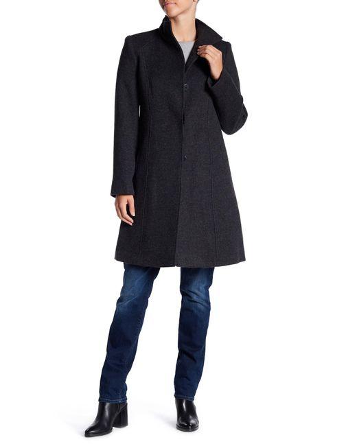 Fleurette | Blue Funnel Neck Wool Coat | Lyst