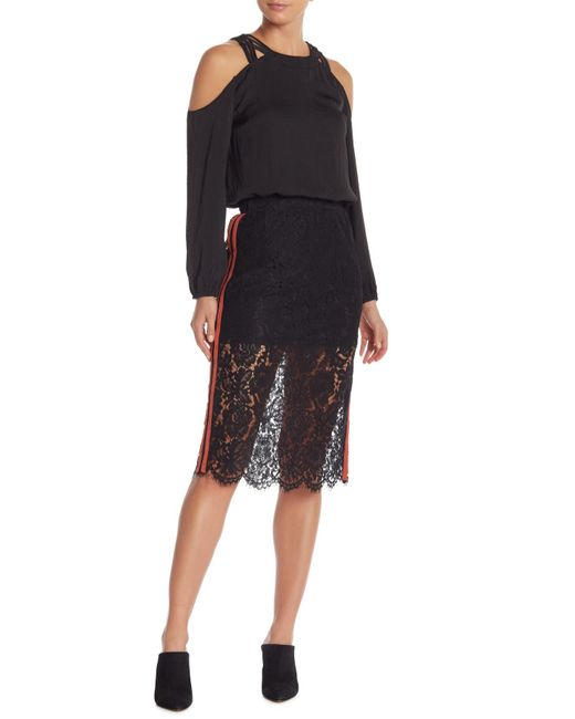 Do+Be Collection - Black Lace Stripe Knee Skirt - Lyst