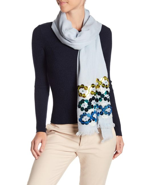 Tory Burch - Blue Embellished Oblong Scarf - Lyst