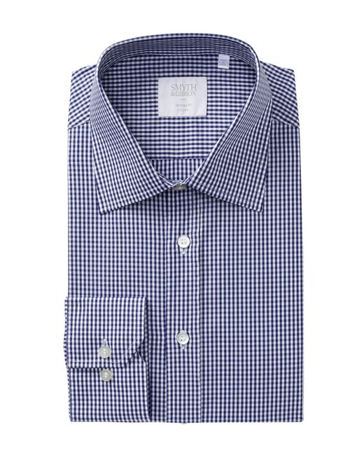 Smyth gibson navy gingham tailored fit dress shirt in for Navy blue checkered dress shirt