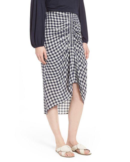 Nordstrom - Blue Ruched Front Gingham Skirt - Lyst