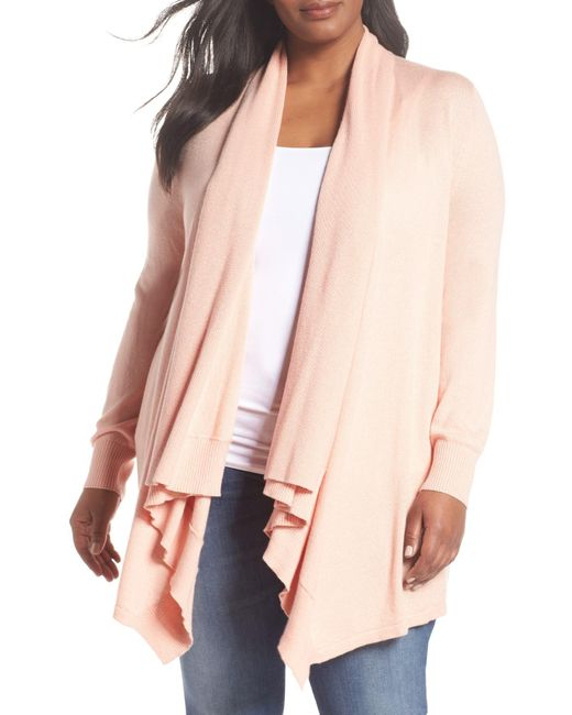 Sejour - Pink Waterfall Cardigan (plus Size) - Lyst
