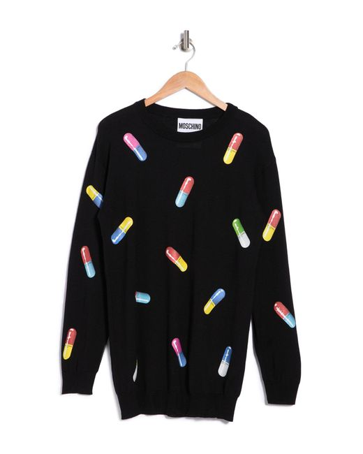 Moschino Black Wool Pill Printed Sweater Dress