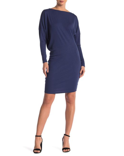 Go Couture Blue Boatneck Thumhole Dress