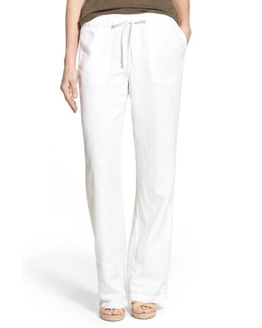 Caslon - White (r) Drawstring Linen Pants (regular & Petite) - Lyst