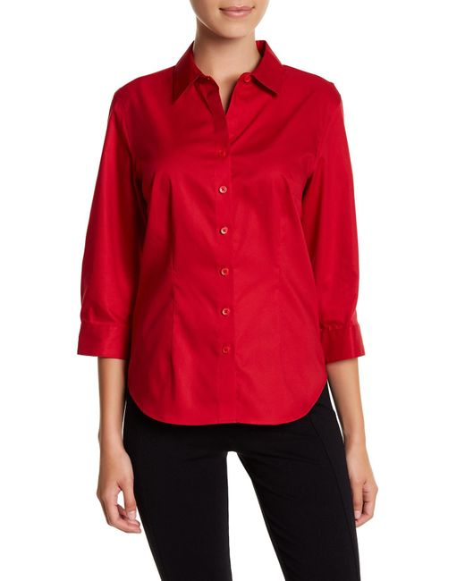 Foxcroft | Red 3/4 Length Sleeve Perfect Shirt (petite) | Lyst