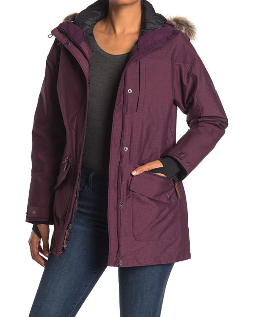 Columbia Purple Carson Pass Interchangeable 3-in-1 Faux Fur Trim Hooded Jacket