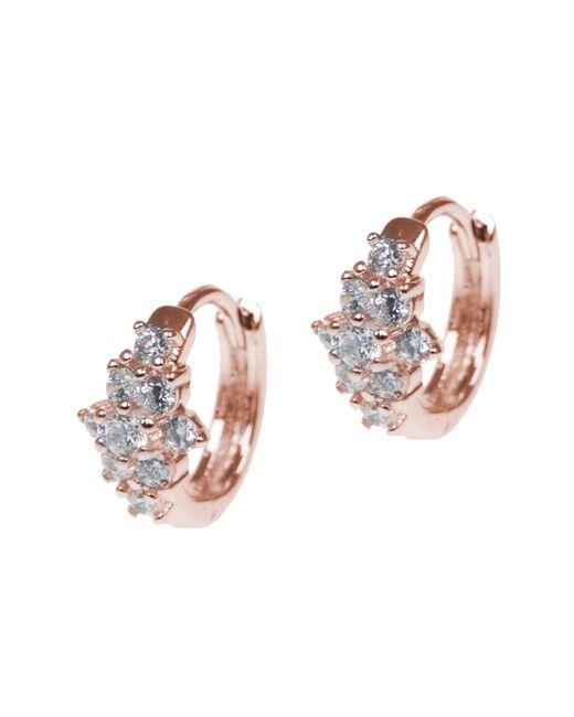 CZ by Kenneth Jay Lane   Pink 18k Rose Gold Plated Cz Flower Huggie Earrings   Lyst