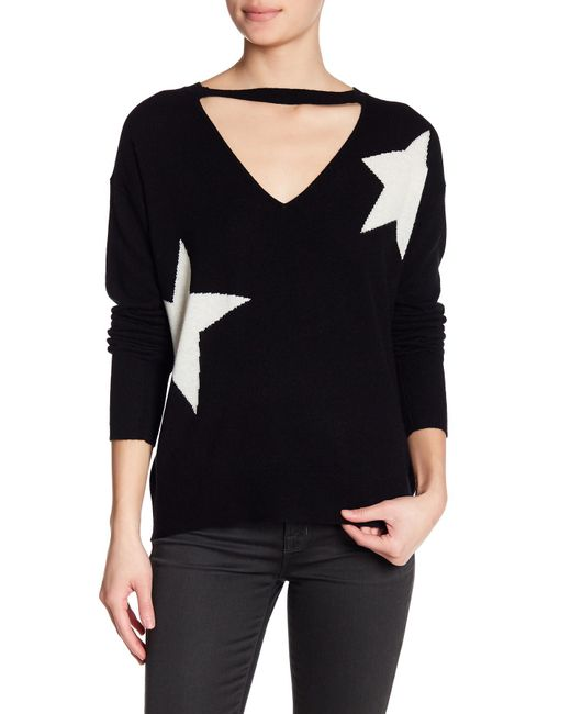 Pam & Gela - Black V-cutout Star Print Wool Blend Sweater - Lyst