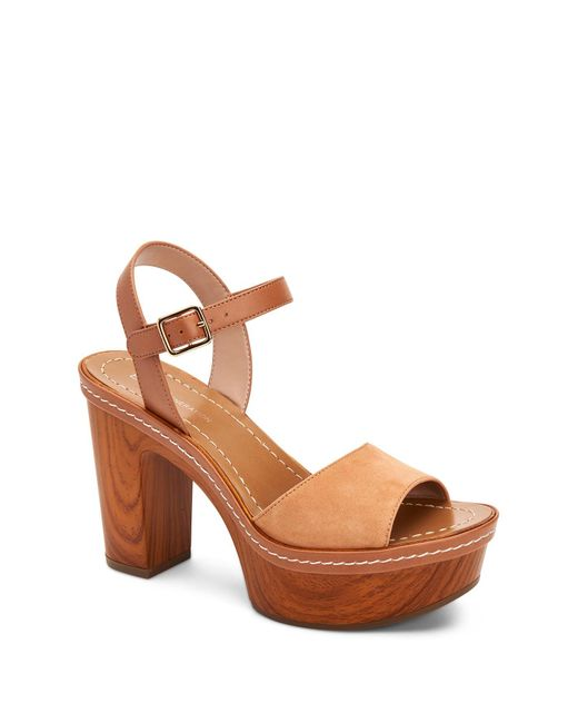 ac2077885e1c BCBGeneration - Brown Zina Suede Wood Block Heel Platform Sandals - Lyst ...