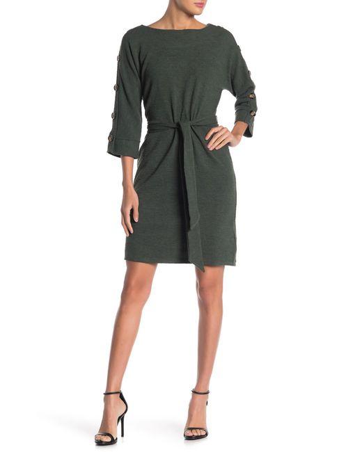 Spense Green Boatneck Button Trim Tie Waist Dress
