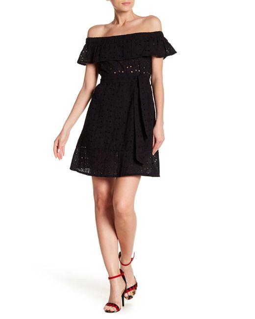 Haute Rogue - Black Off-the-shoulder Eyelet Dress - Lyst