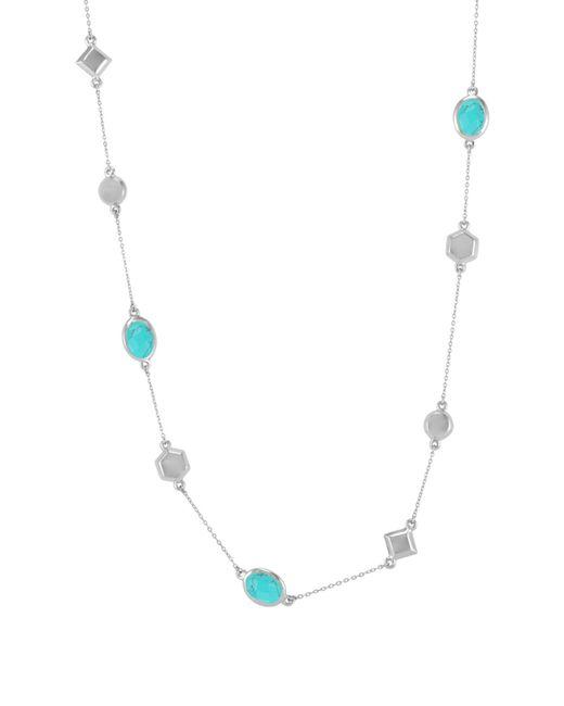 Melinda Maria - Metallic Levi Bezel Set Turquoise & Geo Station Necklace - Lyst