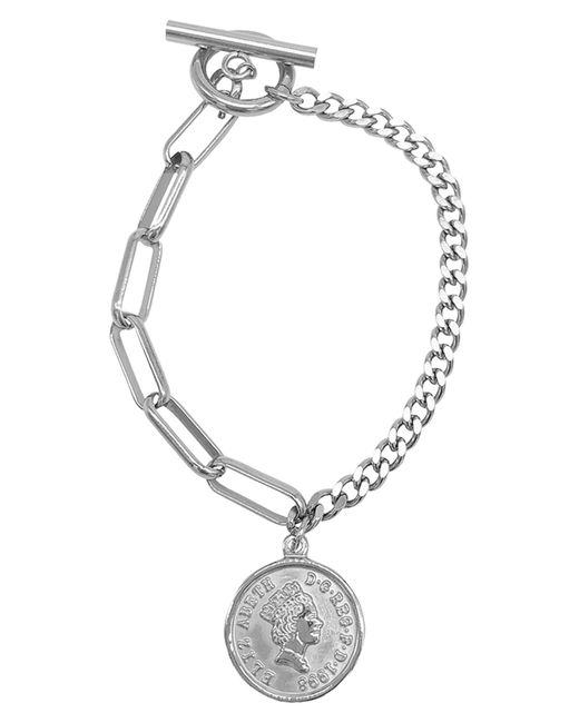 Adornia Metallic Coin Mixed Chain Bracelet In Silver At Nordstrom Rack