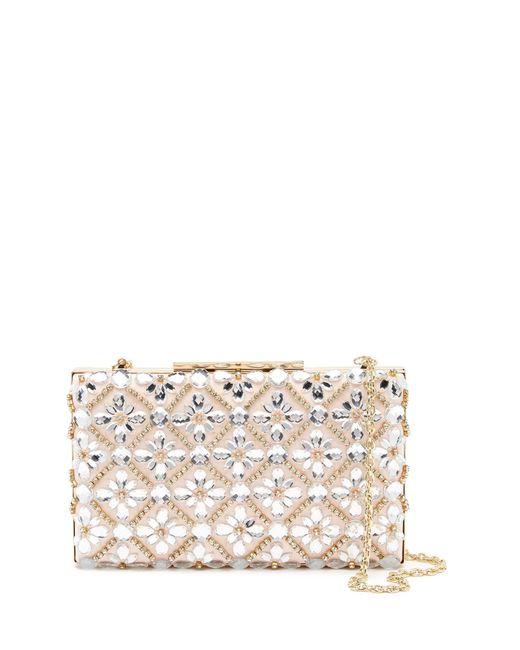 Sondra Roberts - Pink Floral Crystal Embellished Satin Clutch - Lyst