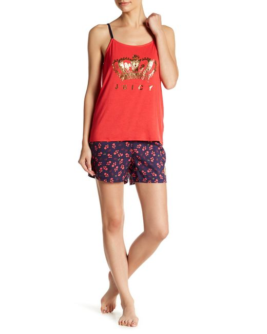 Juicy Couture - Red Pajama Tank Top & Shorts Set - Lyst