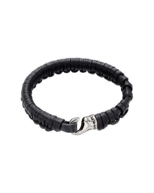 Uno De 50 - Black Hook Plaited Leather Bracelet - Lyst
