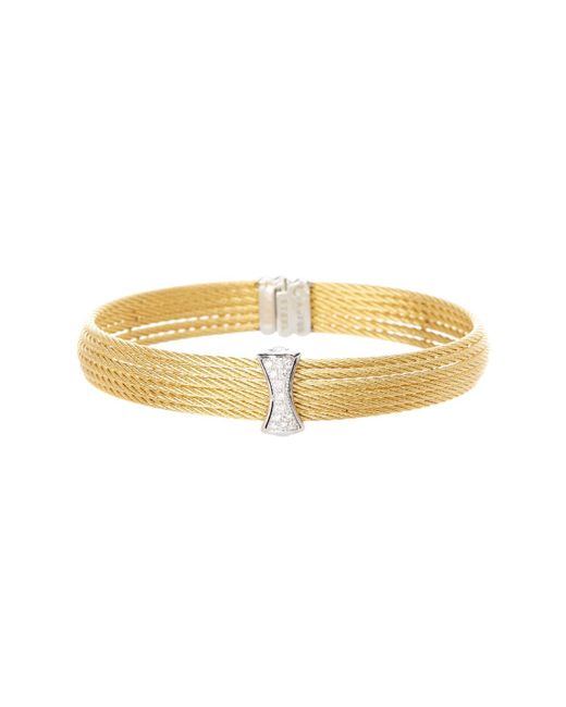 Alor - Yellow 18k White Gold Diamond Detail Multi Strand Bracelet - 0.12 Ctw - Lyst