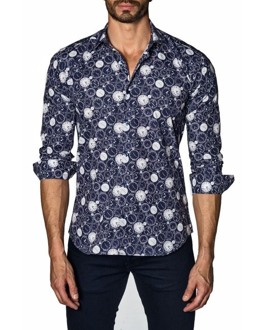Jared Lang Blue Long Sleeve Modern Fit Shirt for men