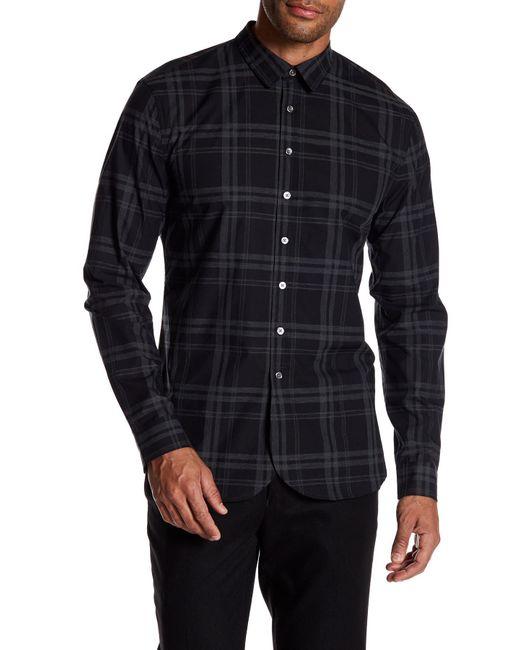 John Varvatos - Black Plaid Round Hem Slim Fit Shirt for Men - Lyst