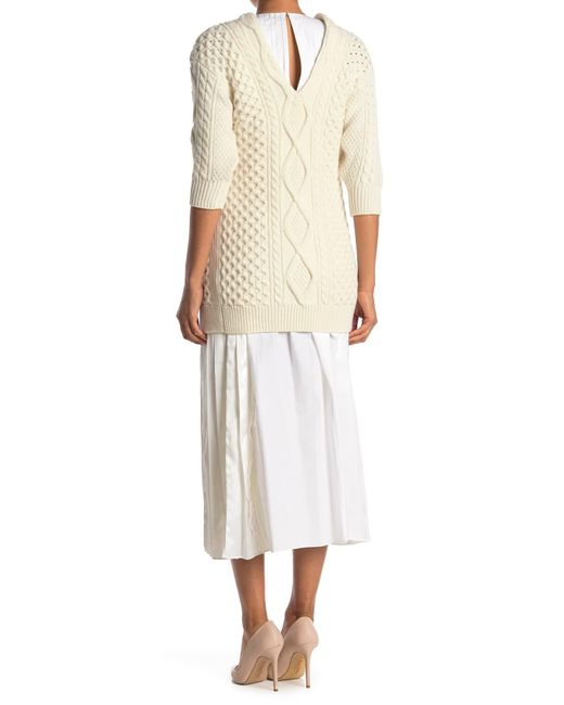 3.1 Phillip Lim White Aran Cable Sweater Pleated Dress