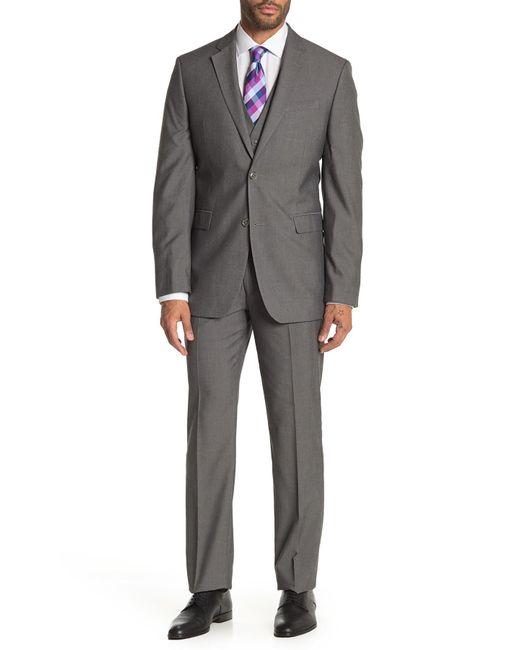 Perry Ellis Gray Grey Herringbone Two-button Notch Lapel Slim Fit 3-piece Suit for men