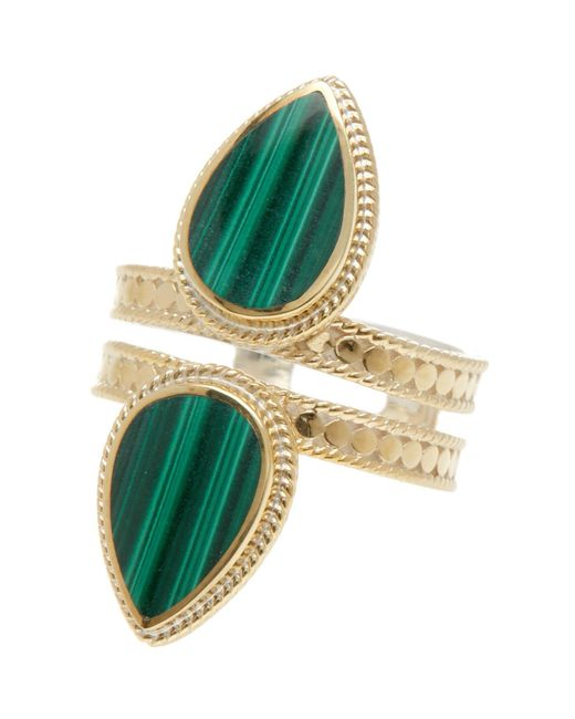Anna Beck - Metallic 18k Gold Plated Sterling Silver Double Malachite Teardrop Ring - Lyst