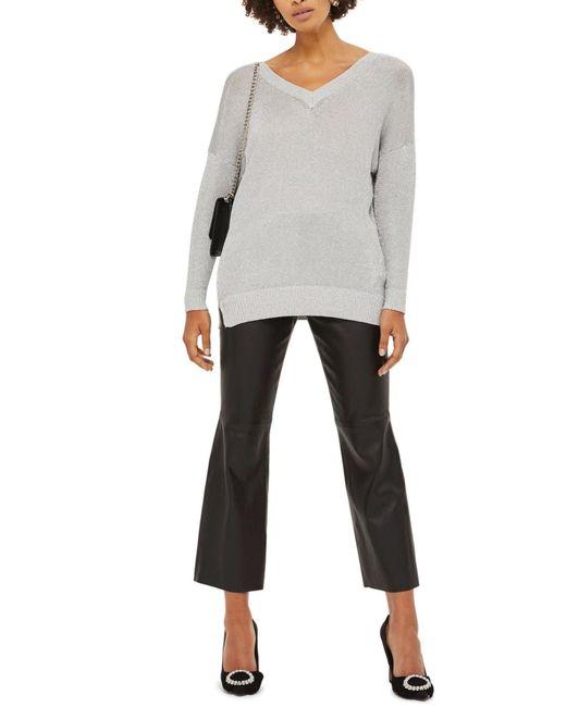 TOPSHOP - Metallic Longline V-neck Sweater - Lyst