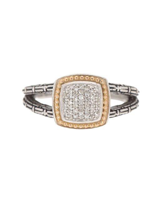 Effy Metallic 925 Sterling Silver 18k Yellow Gold Diamond Ring