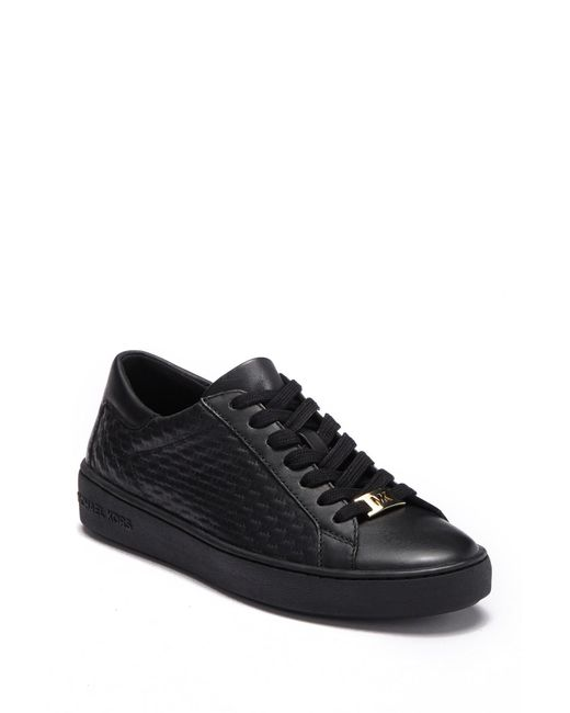 Michael Kors - Black Colby Embossed Leather Sneaker - Lyst