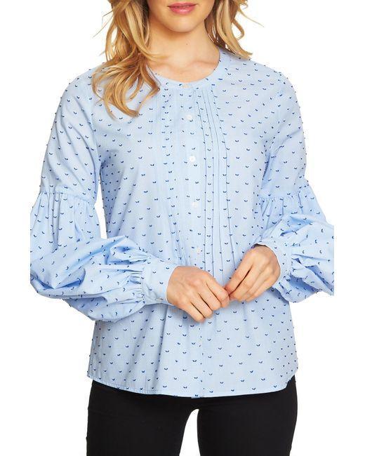 Cece by Cynthia Steffe - Blue Blouson Sleeve Mini Check Blouse - Lyst