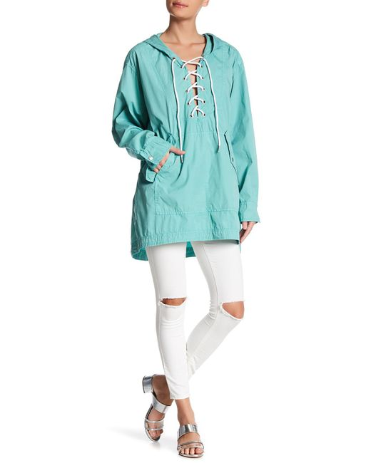 Free People | Blue Popling Lace Up Pullover | Lyst