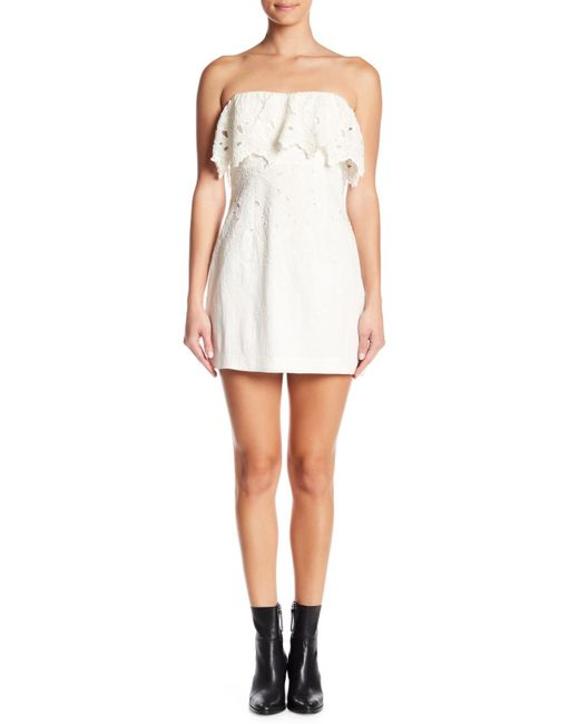 Free People - White Morning Dove Strapless Mini Dress - Lyst