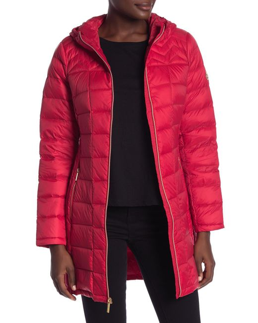 MICHAEL Michael Kors - Red Zip Quilted Puffer Jacket - Lyst