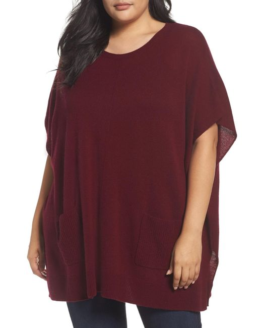 Sejour - Purple Ribbed Pocket Poncho - Lyst