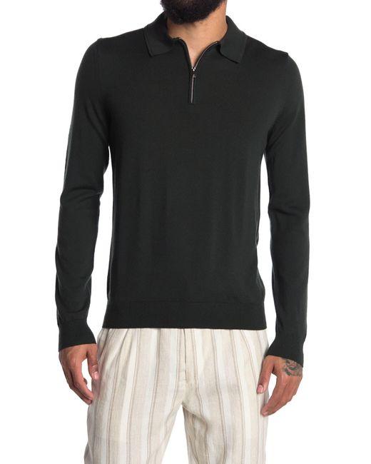Reiss Black Robertson Long Sleeve Merino Wool Zip Polo for men