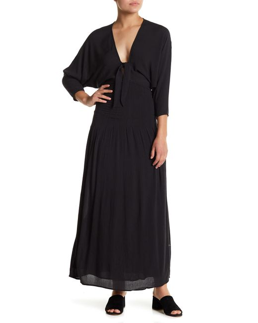 Amuse Society - Black Sunset Row Tie Front Shirred Maxi Dress - Lyst