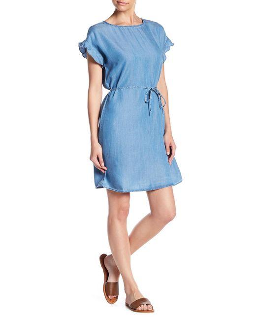 Beach Lunch Lounge - Blue Salma Ruffle Sleeve Tie Waist Dress - Lyst