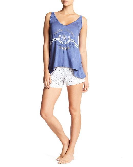 Curvy Couture - Blue Paris Tank Top & Shorts Pajama Set - Lyst