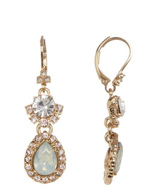 Marchesa Metallic Double Drop Stone & Crystal Earrings
