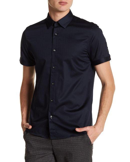 Ted Baker - Blue Lyonn Modern Slim Fit Stretch Sateen Sport Shirt for Men - Lyst