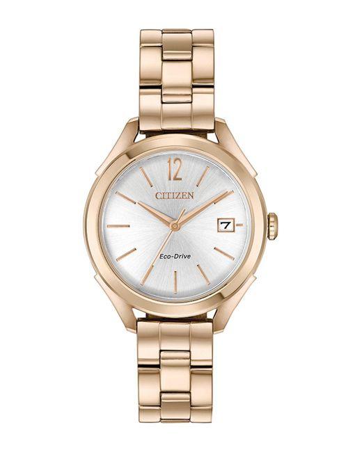 Citizen Metallic Women's Rose Gold-tone Stainless Steel Bracelet Watch 34mm