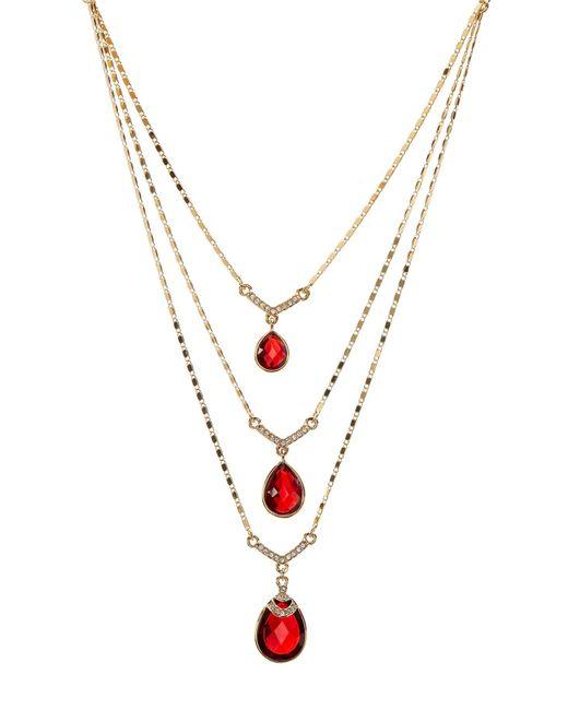 Carolee | Metallic Multi-row Drop Stone Necklace | Lyst